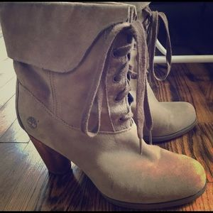 Timberland Gray Wooden Heeled Boots